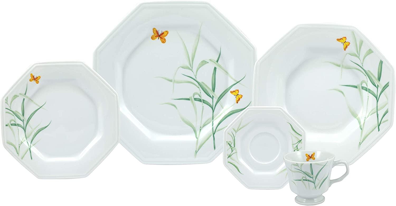 Serviço de jantar e chá 20 peças em porcelana - modelo octogonal prisma