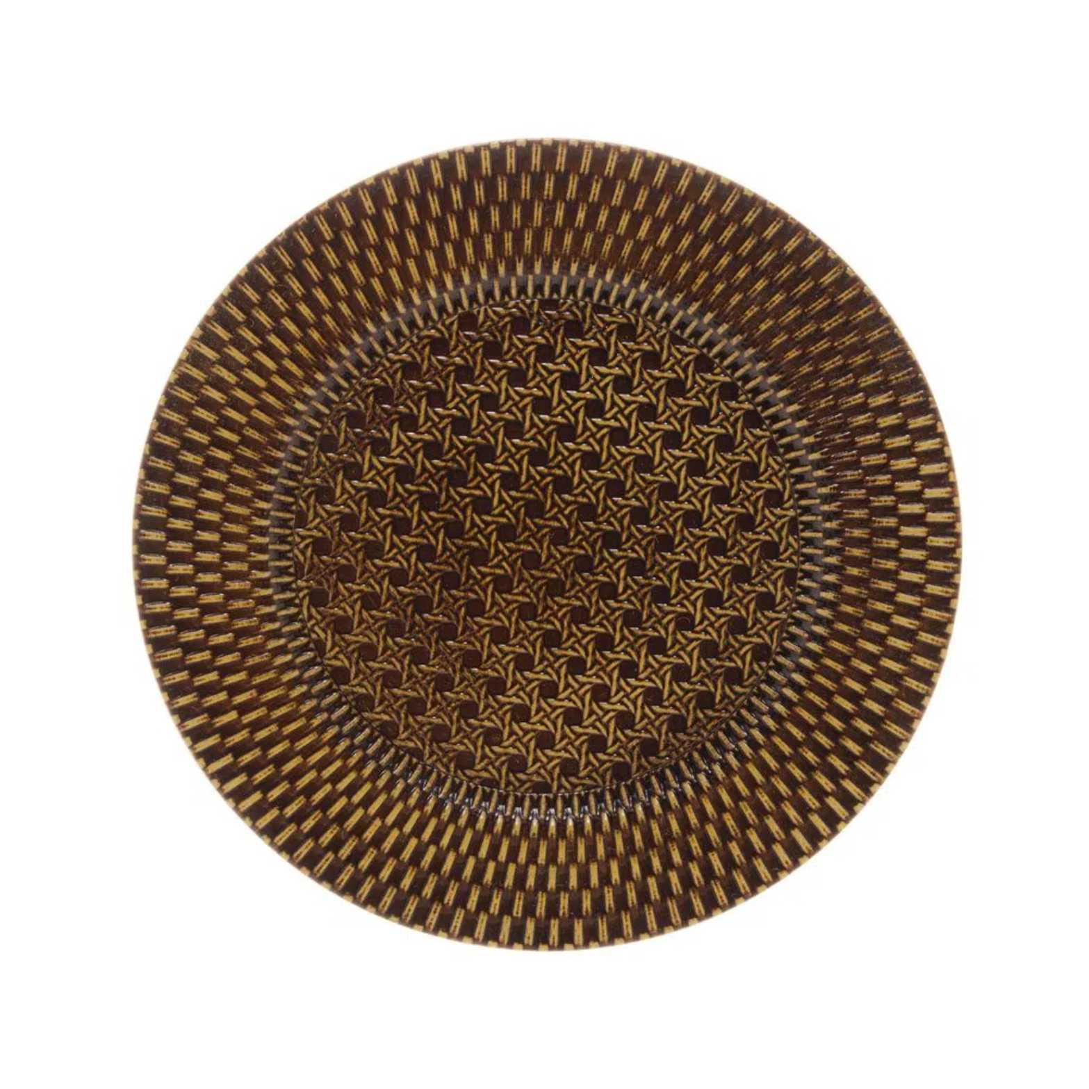 Sousplat Textura Rattan Natural Castanho em Polipropileno 33CM - Royal
