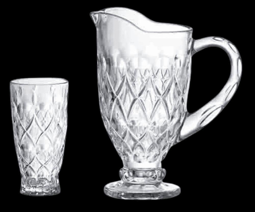 Suqueira jarra de 1L c/ 6 copos 340ml - Studio Crystal