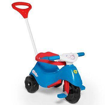 Triciclo Infantil Lelecita Azul Com Empurrador Calesita
