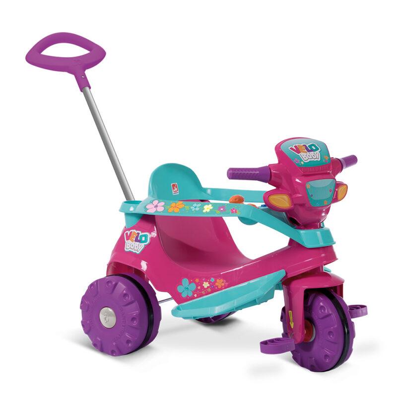 Triciclo Velobaby Passeio & Pedal Rosa - Bandeirante