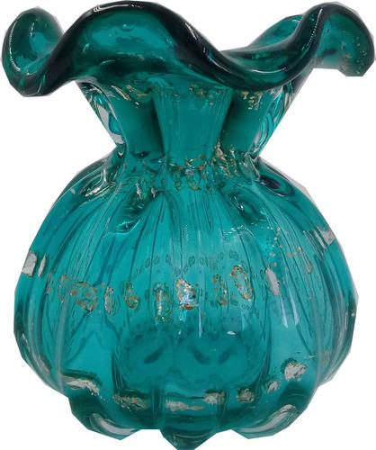 Vaso De Vidro Italy Tiffany E Dourado 11,5x13cm