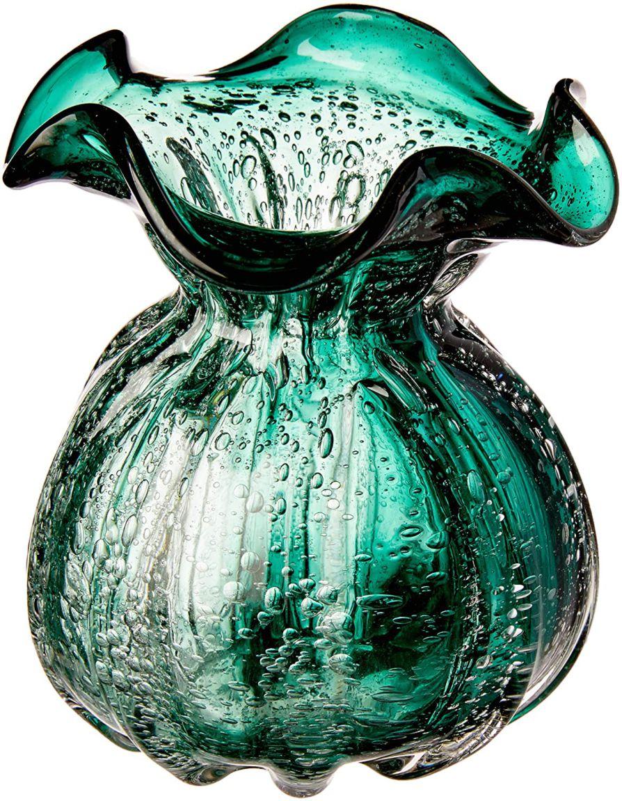 Vaso De Vidro Italy Verde Esmeralda 11, 5x13cm Lyor Verde Esmeralda