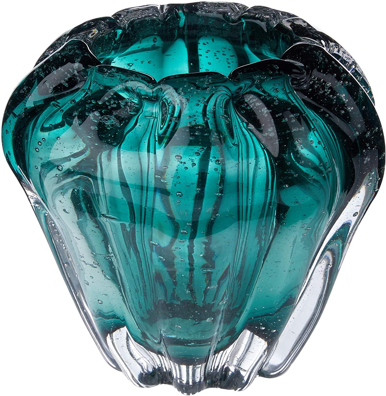 Vaso De Vidro Italy Verde Esmeralda 16x14cm - Lyor