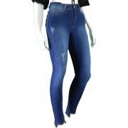 Calça Jeans Feminina Cintura Alta Skinny  Barra Desfiada Conexão