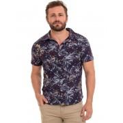 Camisa Masculina Manga Curta Casual Estampada Floral Conexão