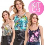KIT C/3 Blusa Regata Alça Fina Feminina Conexão