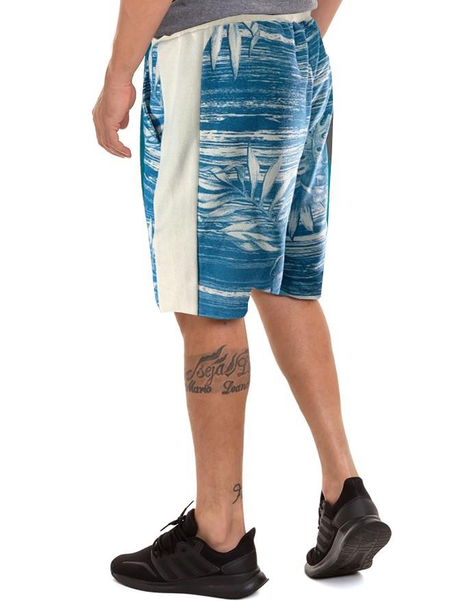Bermuda Masculina De Moletom Estampa Tropical Conexão