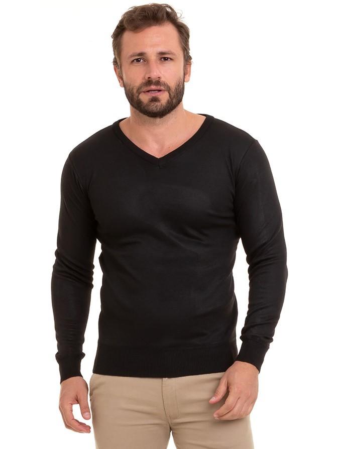 Blusa Masculina De Frio Suéter Tricô Básico Conexão