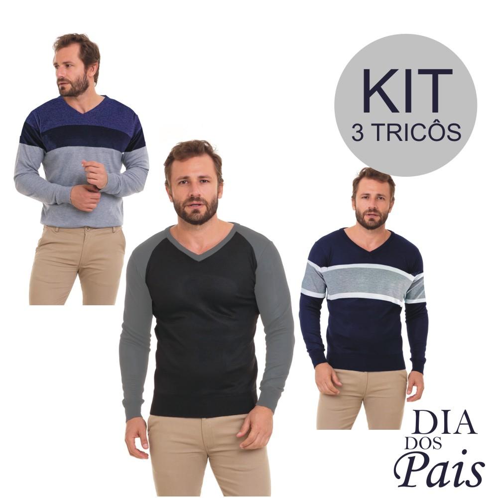 Blusa Masculina Inverno Suéter Tricô Kit C/3 Conexão