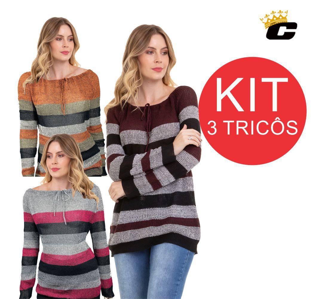 Blusa Tricô Feminina Kit C/3 Conexão