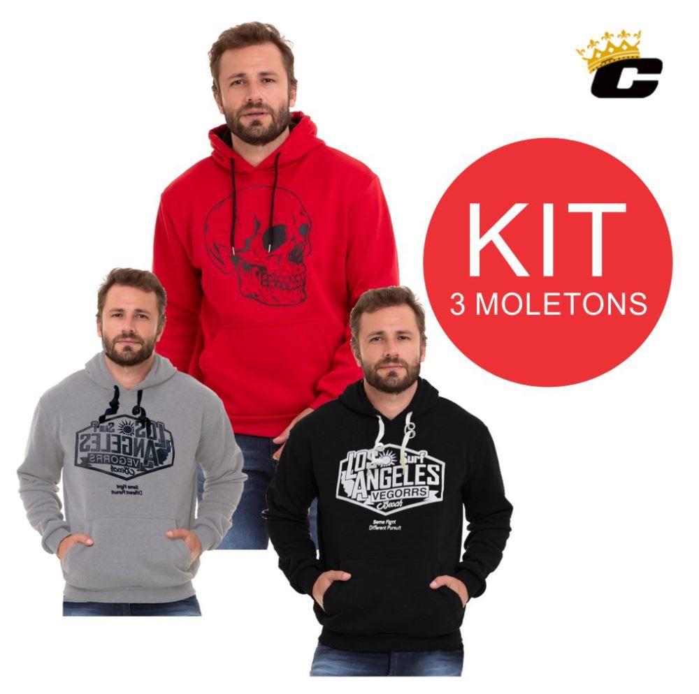 Blusão De Moletom Masculino Kit C/3  Conexão