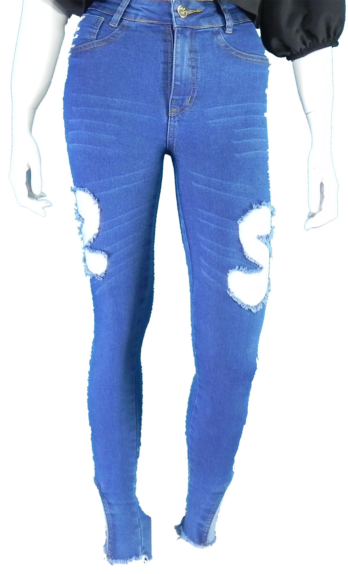 Calça Feminina Jeans Cós Alto Destoyed  Conexão