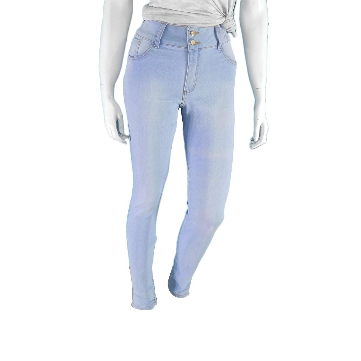 Calça Feminina Jeans 2 Botoes Delave
