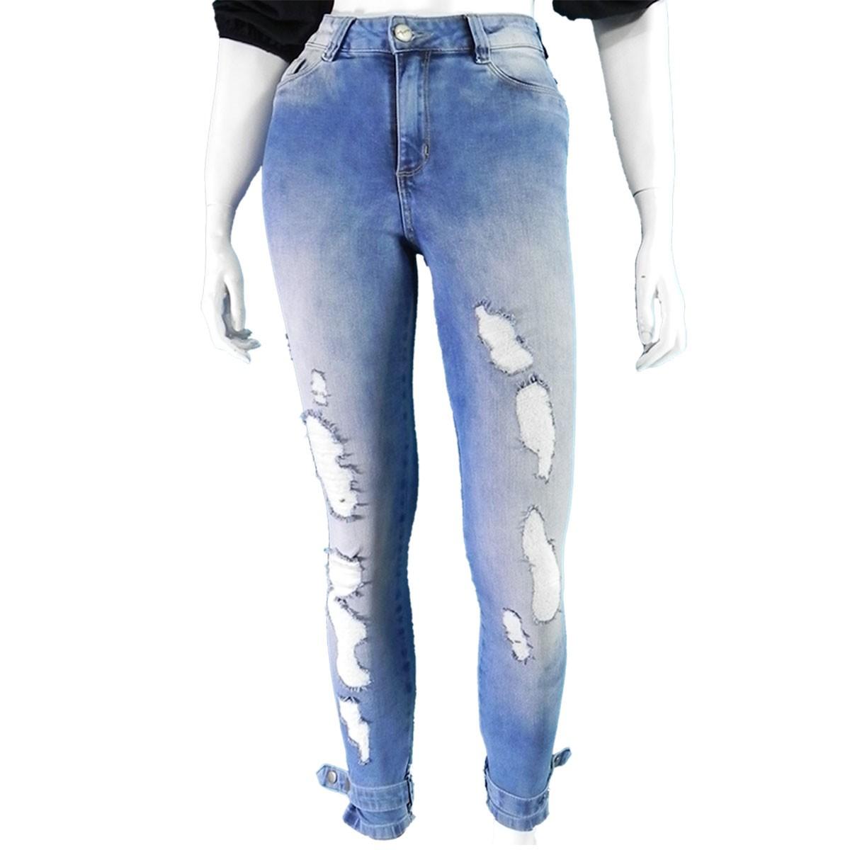 Calça Feminina Hot Pant Jeans Premium Destroyed Conexão