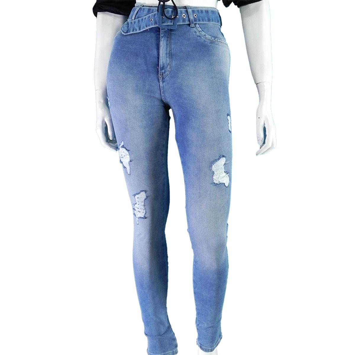 Calça Jeans Feminina Cós Alto Skinny Com Cinto Lançamento Conexão
