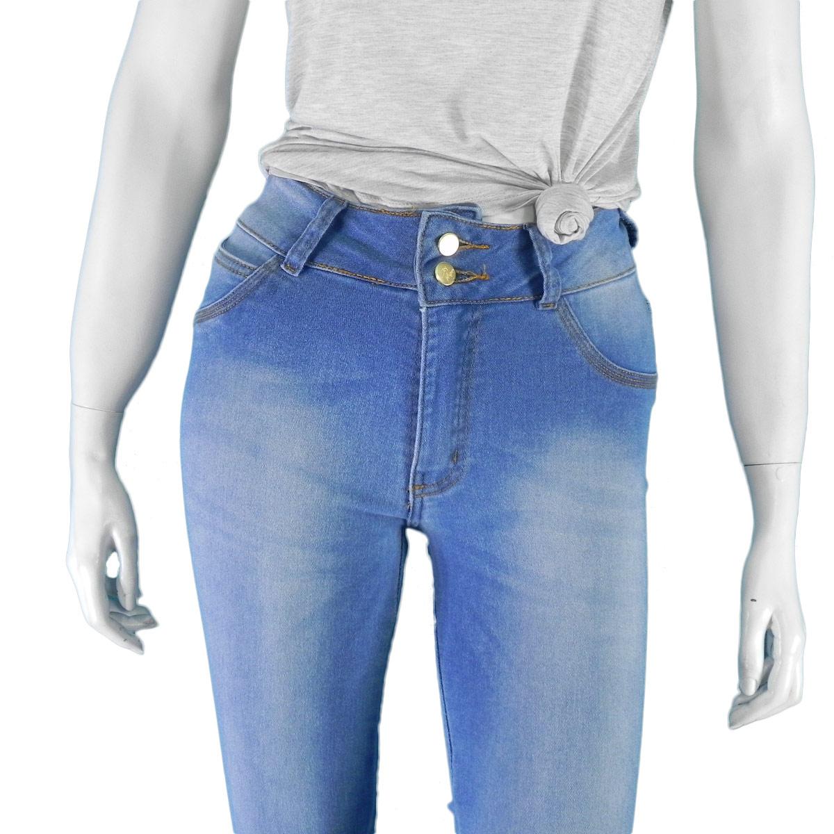 Calça Fem Jeans Skinny 2 Botoes