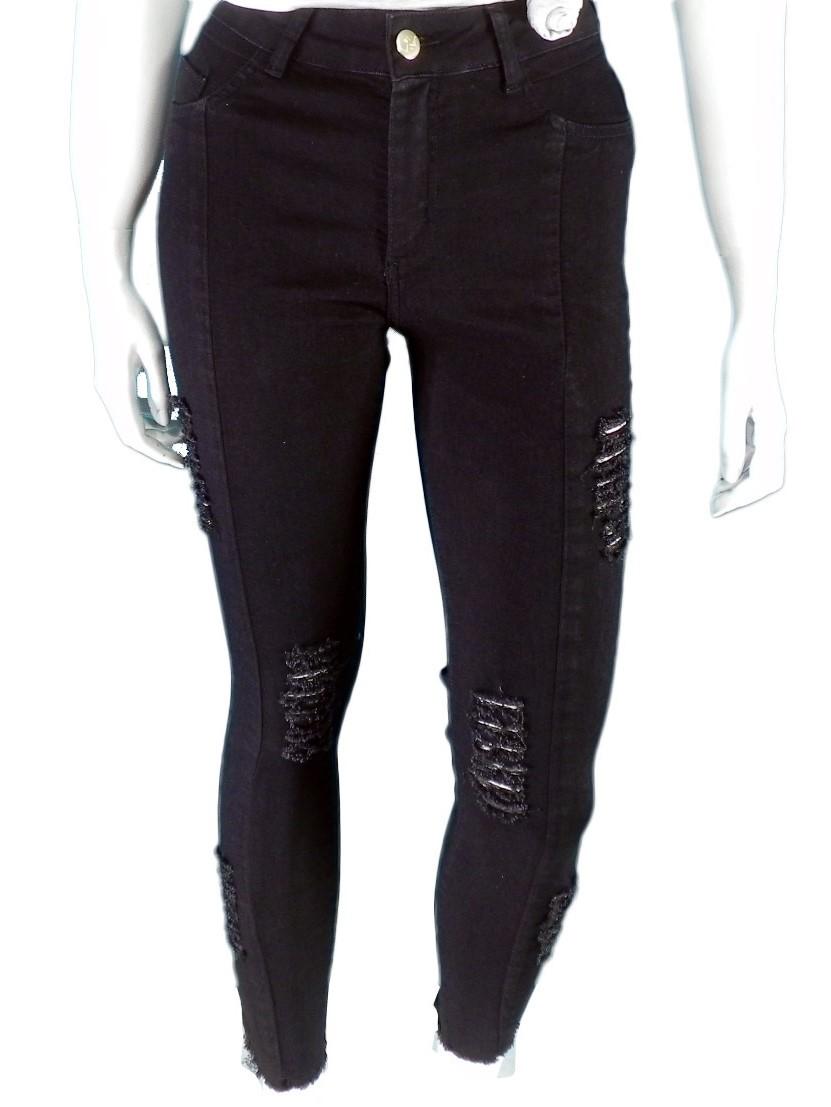 Calça Feminina Jeans Sarja Color Preto Com Lycra Elastano Destroyed Conexão