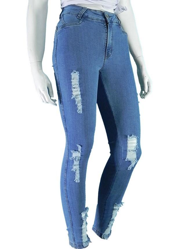 Calça Jeans Feminina Lycra Hot Pants Levanta Bumbum Conexão