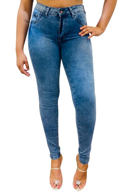 Calça Feminina Jeans  Skinny Cós Alto Com Lycra Conexão