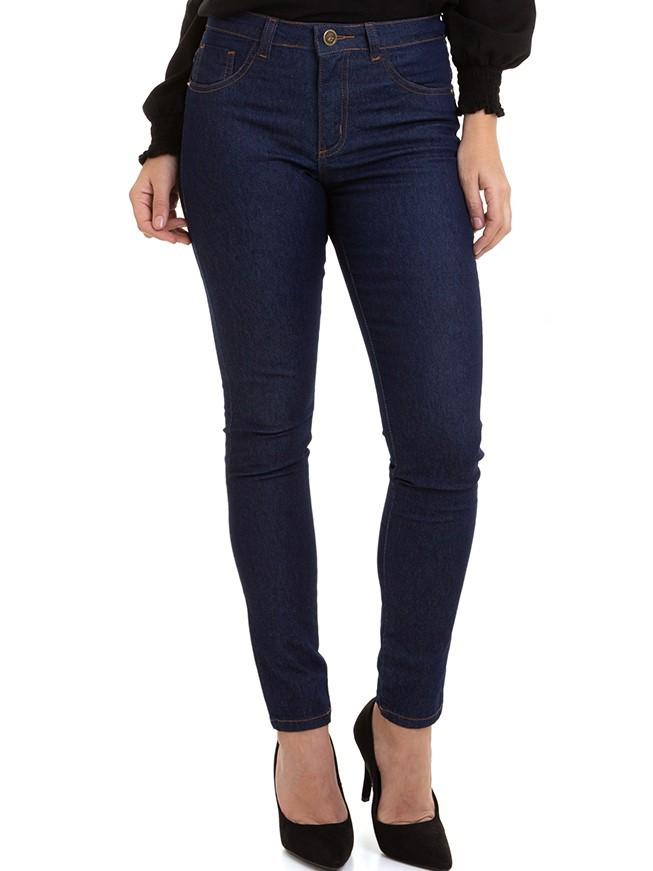 Calça Feminina Jeans Básica Denim Escuro Skinny Conexão