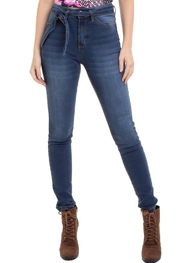 Calça Feminina Jeans Skinny Cintura Alta Com Cinto Conexão