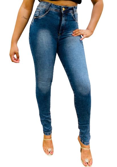 Calça Feminina Jeans Skinny Cintura Alta Com Lycra Conexão