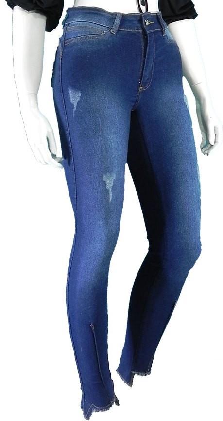Calça Feminina Jeans Cintura Alta Skinny Com Lycra Lançamento Conexão