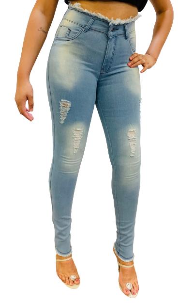 Calça Feminina Jeans Skinny  Cós Alto Desfiado Conexão