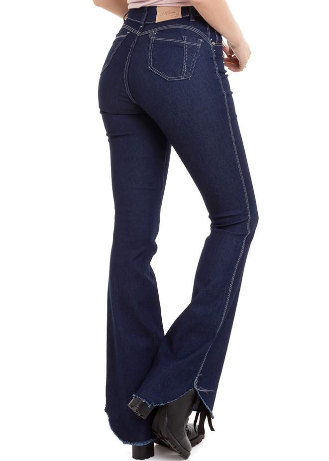 Calça Feminina Jeans Flare Denim Escuro Conexão