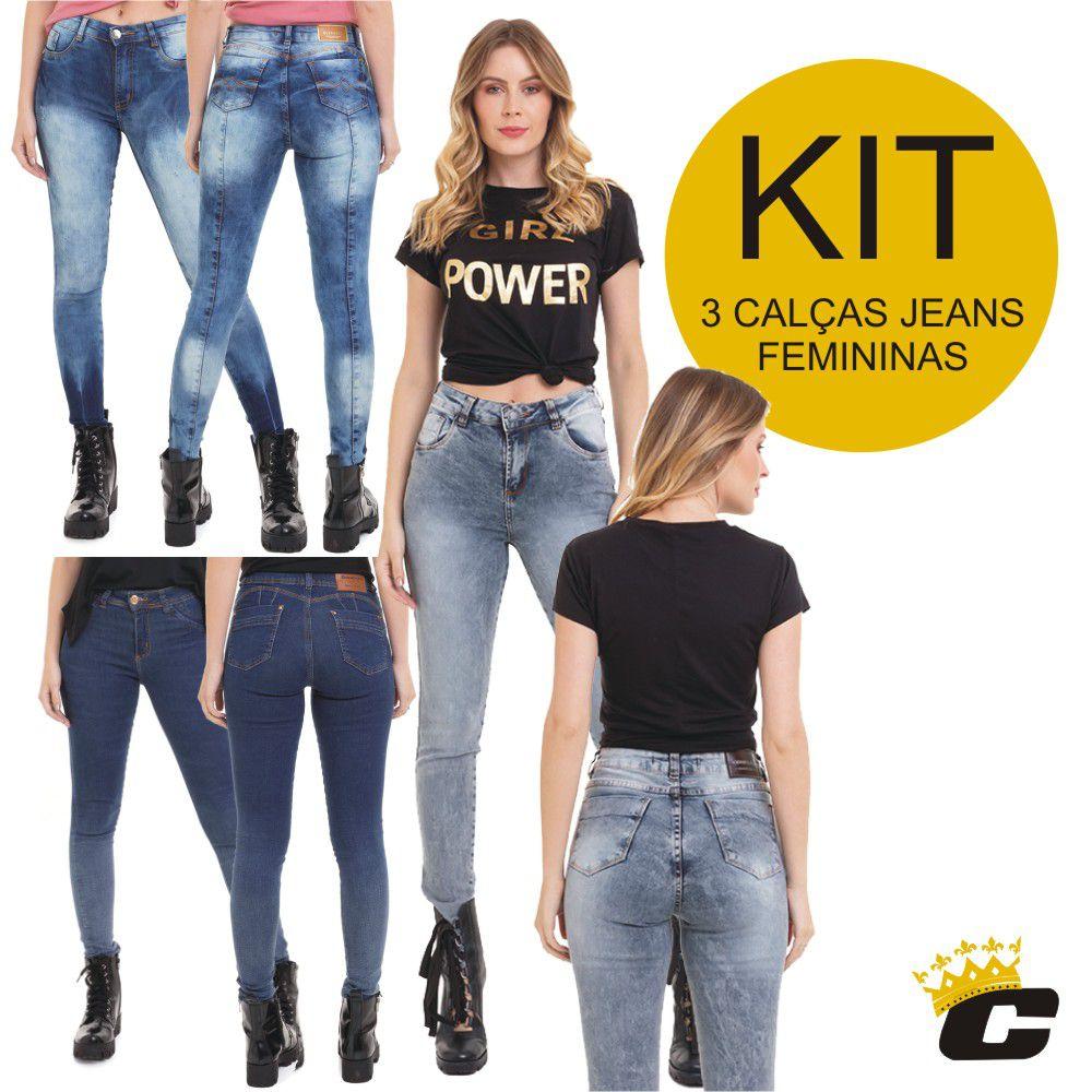 Calça Feminina Jeans Levanta Bumbum Original Kit C/3 Conexão