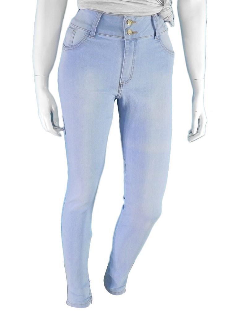Calça Jeans Feminina Skinny Azul Claro Cintura Alta Conexão