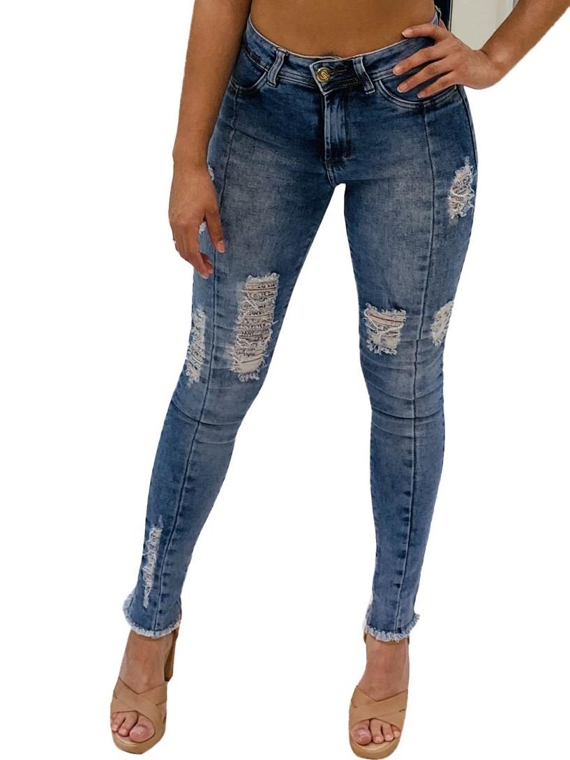 Calça Jeans Feminina Skinny Cós Alto Levanta Bumbum Com Lycra Original Conexão