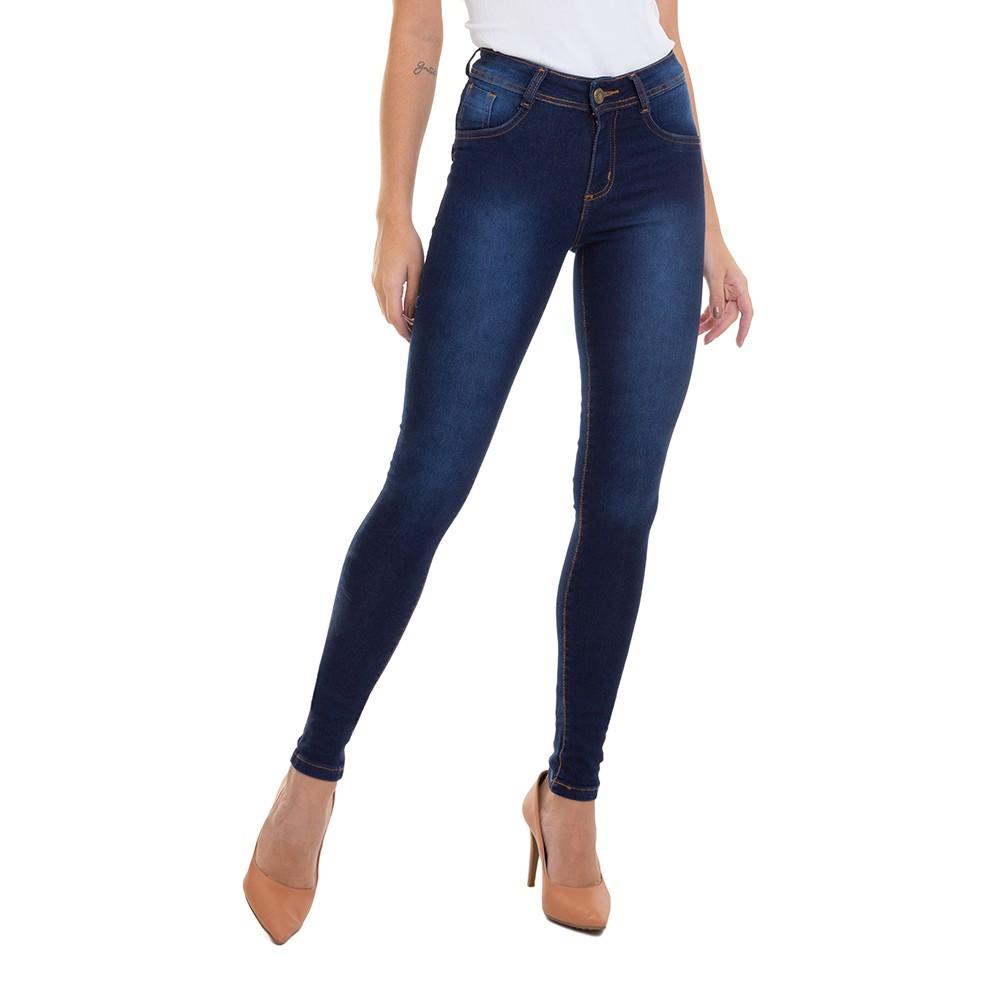 Calça Jeans Feminino Skinny Bolso com Detalhe de Filigrana Conexão