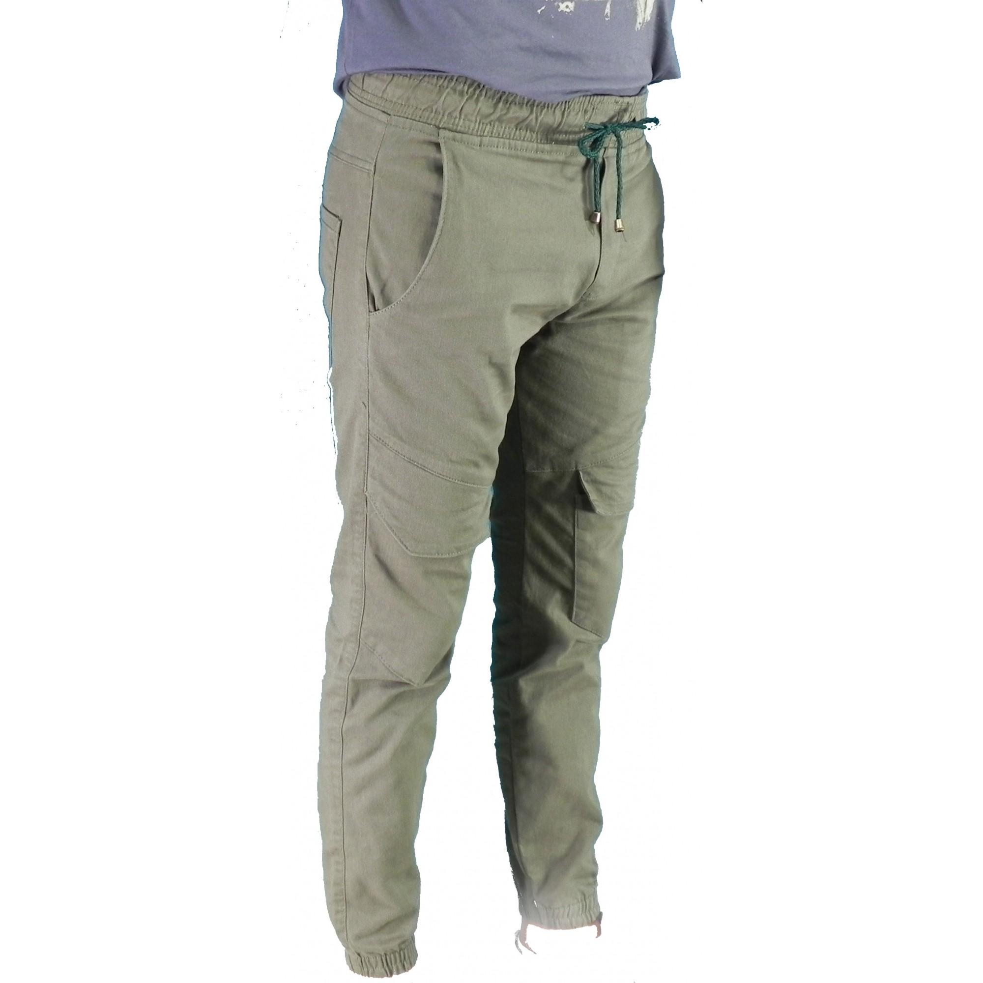 Calça Masculina Sarja Jogger Bolsos Laterais Conexão