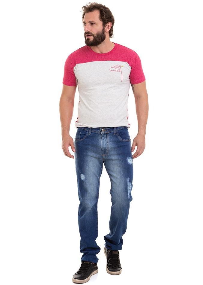 Calça Masculina Jeans Reta Destroyed Denim Blue Conexão