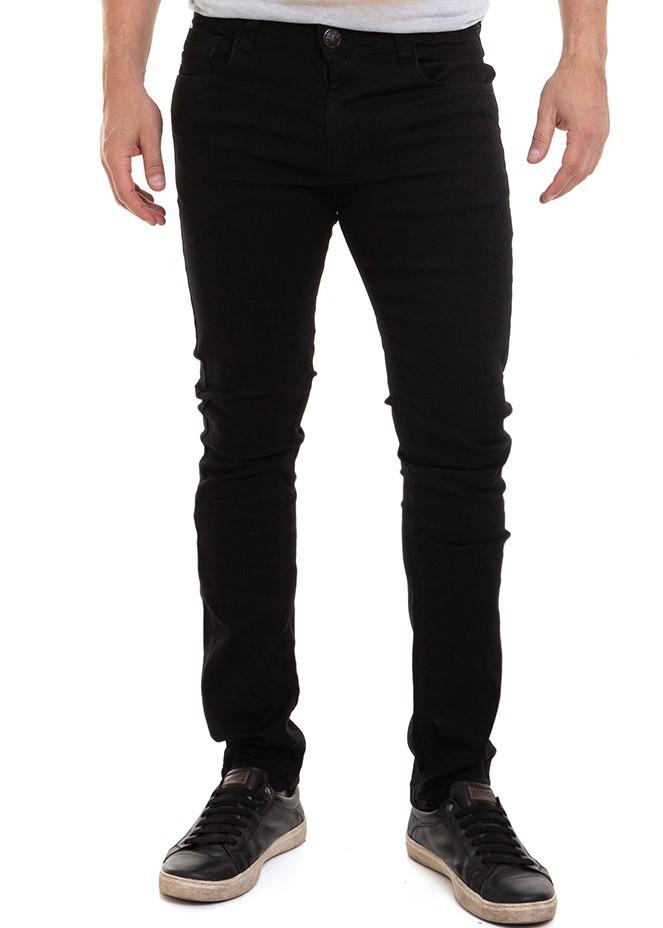Calça Masculina Jeans SarjaColor Preto Skinny com Lycra Conexão