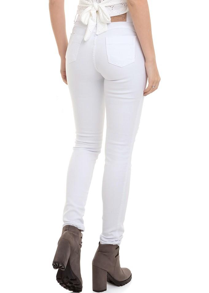 Calça Feminina Sarja Branca Rasgada Conexão