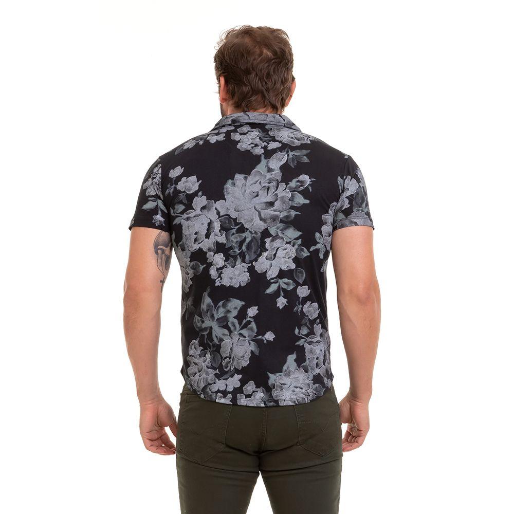 Camisa Casual Estampada Floral Masculina de Mangas Curtas Conexão