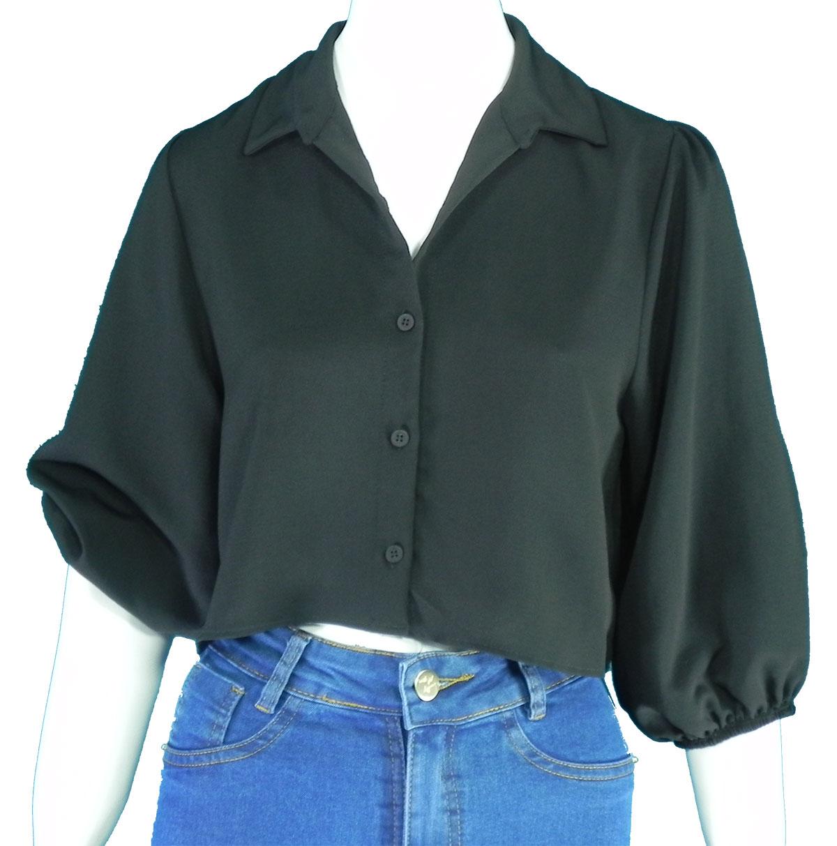 Camisa Feminina Crepe Manga Longa Bufan Conexão