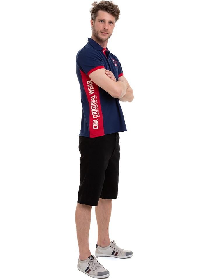 Camisa Masculina Manga Curta Polo Recorte Lateral Conexão