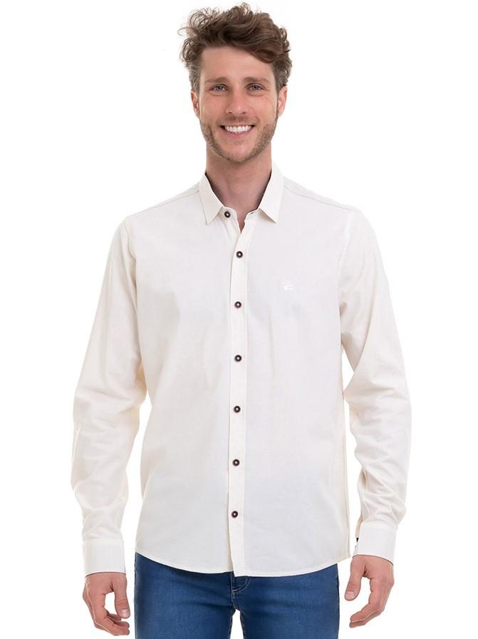 Camisa Masculina Manga Longa Slim Em Tecido Linho Conexão