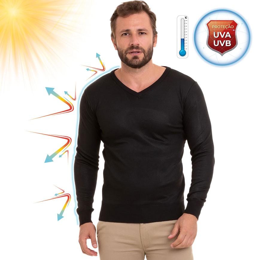 Camiseta Básica Masculina Manga Longa Decote V Conexão