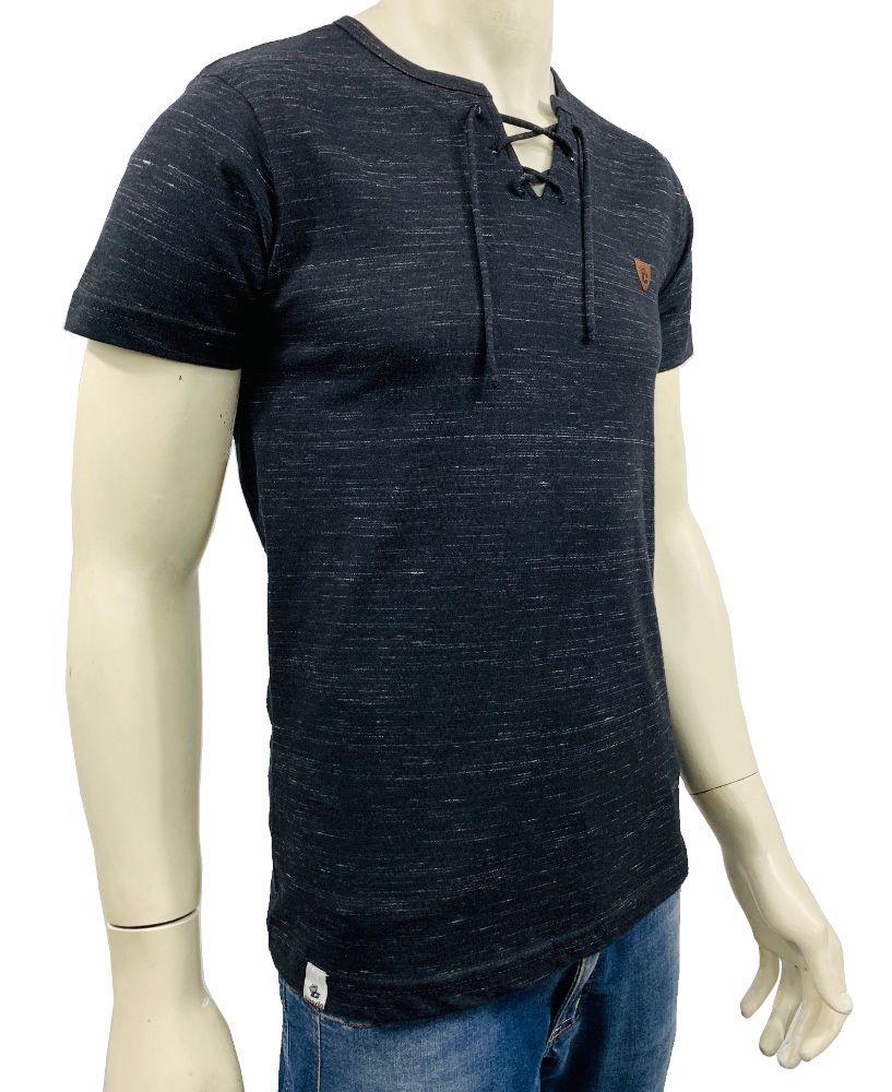 Camiseta Detalhe Ilhós  Manga Curta Masculina Conexão