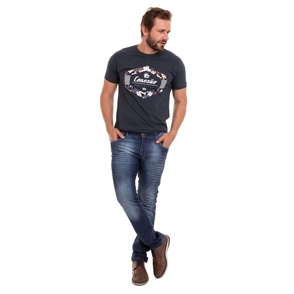 Camiseta Estampada Manga Curta  SilK Floral Masculina Conexão