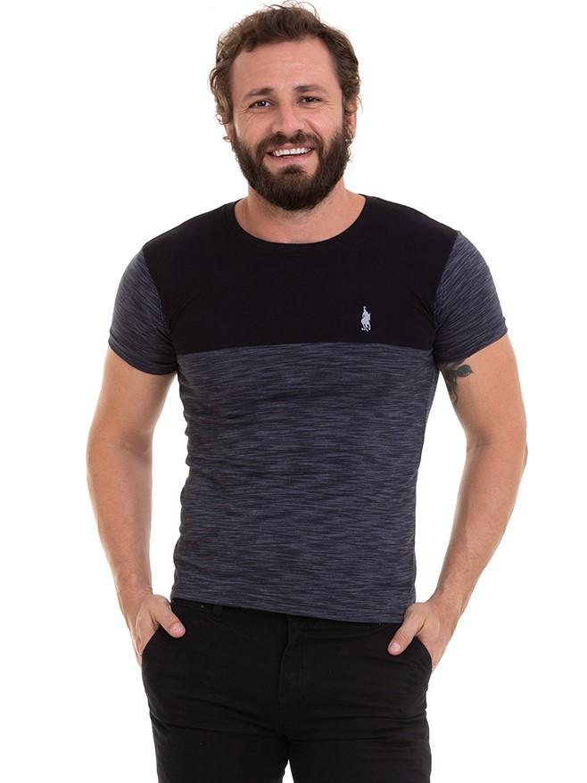 Camiseta Masculina Manga Curta Com Recorte Conexão