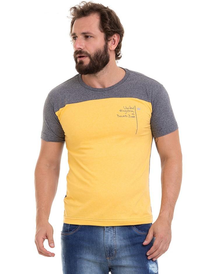Camiseta Masculina Manga Curta Recorte Conexão