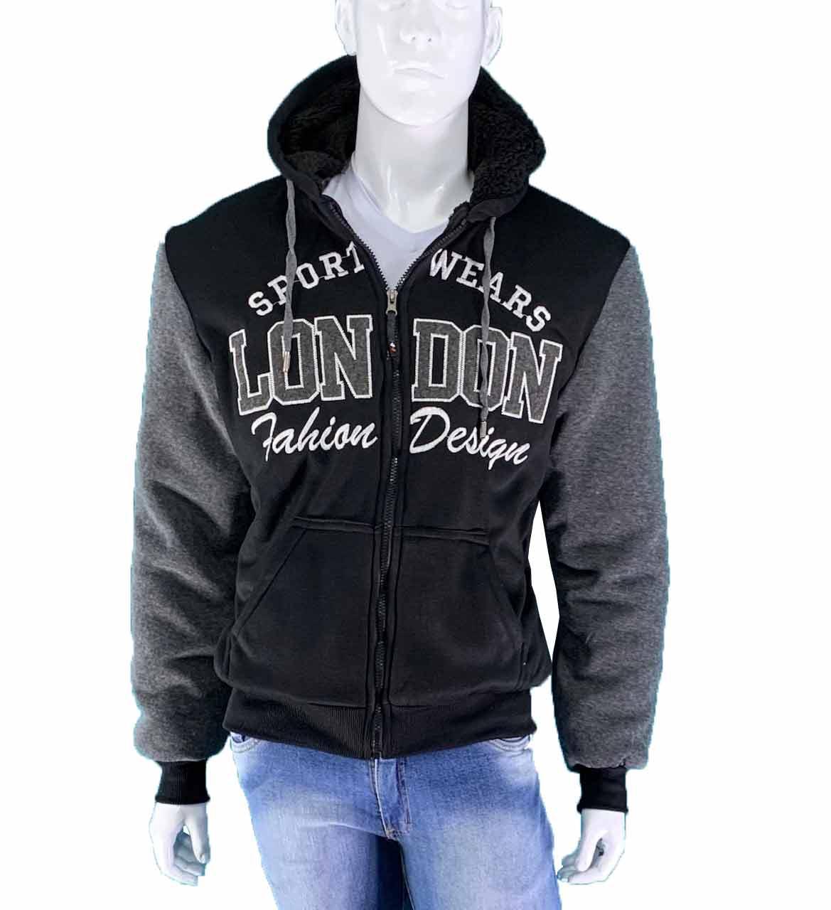 Jaqueta Blusão Moletom Masculino Forrado Pele de Carneiro Conexão