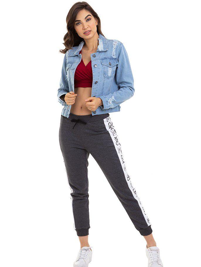 Jaqueta Feminina Jeans Destroyed  Conexão