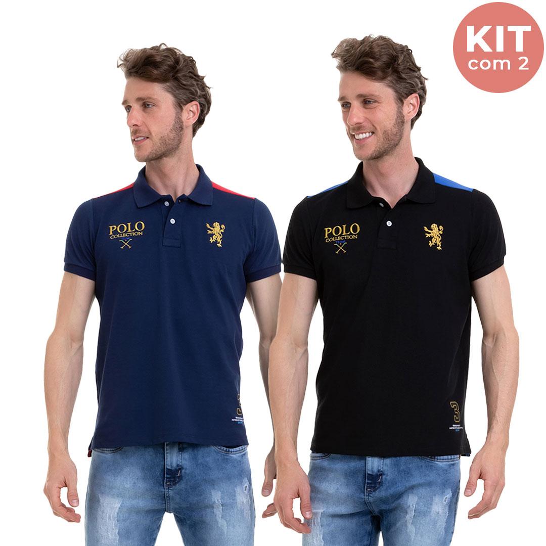 Kit C/2 Camisa Masculina Manga Curta Polo Com Bordado Conexão